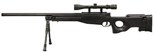 HECATE Fusil Airsoft Sniper Well MB01-D/Plástico y Metal de Alta Resistencia/Color Negro/Amartillado Manual (0,5 Julios) / Entregado con Accesorios