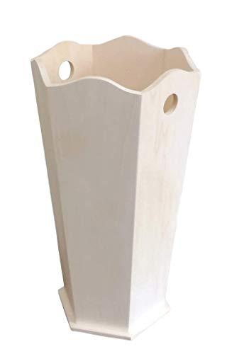 Paraguero madera. Diseño Hexagonal. En madera de chopo crudo, para pintar. Medidas (ancho/fondo/alto): 25 * 25 * 50 cms.