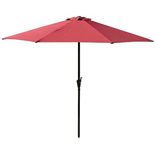 BBZZ Sombrilla de jardín de 270 cm con 8 varillas resistentes al agua, tela de poliéster, sombrilla de color crema para exteriores o patio, color rojo