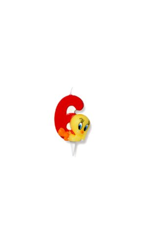 Bougie chiffre 6 - Tweety© (Looney Tunes©) - Taille Unique