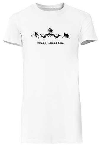 Train Insaiyan Blanca Vestido Largo Mujer Camiseta Tamaño XL White Dress Long Women's tee Size XL