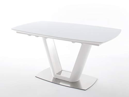 Esstisch Weiß ausziehbar, Tisch mit Glasplatte matt lackiert, BxHxT 160-210x76x95 cm