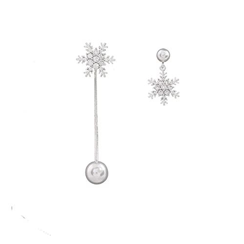 Pendientes colgantes de moda de metal para mujer asimetría copo de nieve pendientes joyería