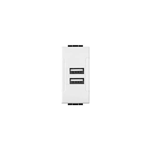 LineteckLED -LNT 821B- Serie Completa Materiale Elettrico Fai da Te- Presa USB Bianca Input 90-265V 50/60Hz 0.4A - Output 5V 2A Due Uscite Compatibile living
