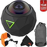 360fly 4K Waterproof Video Camera (FLYC4KC01BEN) Year Extended Warranty + Floating Strap