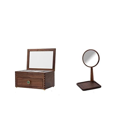 QIFFIY Caja de joyería de Madera 24.7 * 17.7 * 12.7 cm con Tapa Superior de Vidrio Transparente, Pendientes Collares Relojes y Cajas de Almacenamiento de cajones