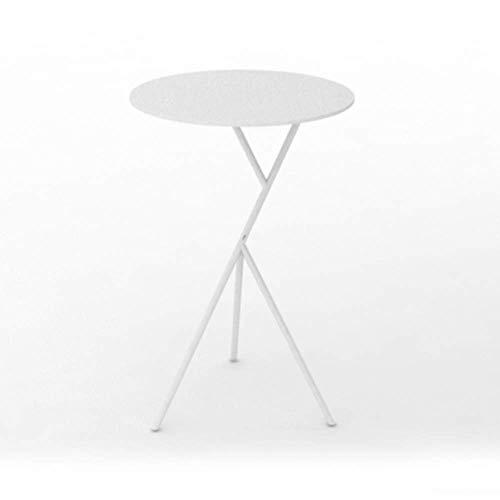 Axdwfd Table d'appoint en fer forgé salon canapé-lit petite table ronde or/noir/blanc multi-fonction (taille: 38 * 58cm) (Couleur : Blanc)
