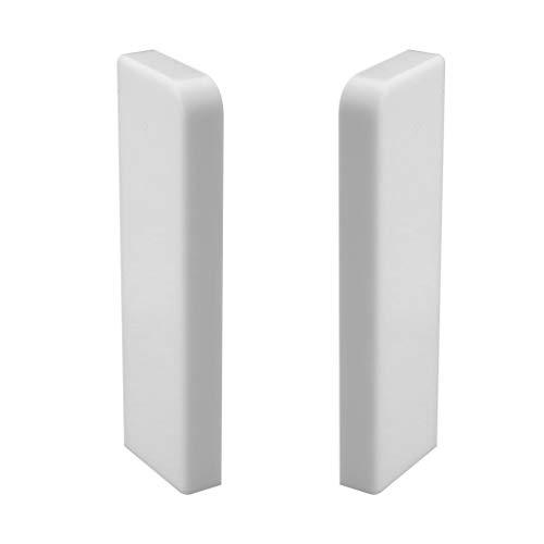 Trevendo® Endkappe Set links & rechts für Sockelleiste weiß 58mm TOP MDF Fußleisten für Vinyl Laminat Parkett