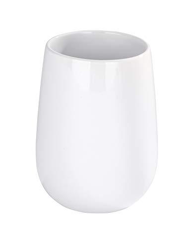 WENKO Gobelet Malta blanc - Porte-brosse à dents pour la brosse à dents et le dentifrice, Céramique, 8 x 11 x 8 cm, Blanc