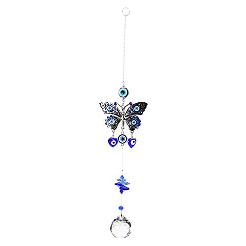 FLAMEER Blau Bösen Blick Schmetterling Auto Hängen mit Kristall Suncatcher Ornament für Home Garten Hof Terrasse...