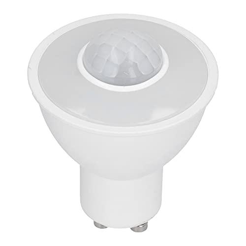 Bombilla de detección de cuerpo infrarrojo GU10, aluminio + PC 5W 500LM Bombilla LED no deslumbrante Bombilla de inducción inteligente para pasillo de techo AC100-240V Luz blanca
