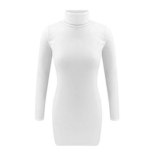 Floweworld Damen Pullover Kleider Wintermode Langarm Solide Rollkragen ausgestattet Taille A-förmigen Plüsch Party Kleider Casaul Minikleider