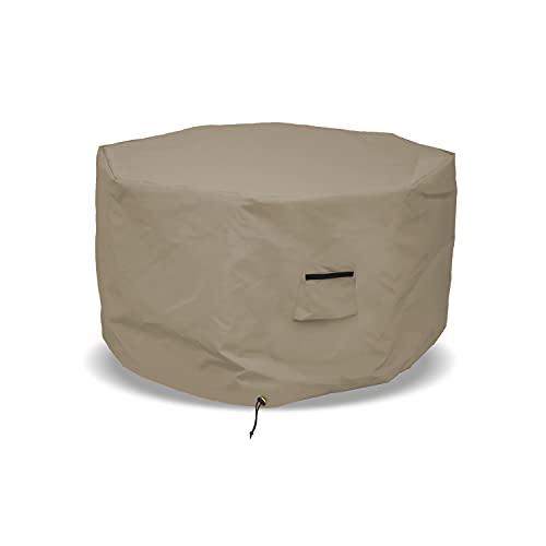 옥타곤 소방용 뚜껑 12 오즈 방수 - 스너그 피트(20H X 42 D 베이지)용 에어 포켓 및 드로스트링이 적용된 100% 내후성 야외 화재용 구덩이 테이블 커버