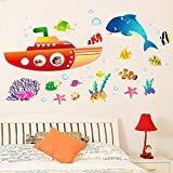 Wallpark Unterwasser Welt U-Boot Besichtigung Niedlich Delphin Meer Fisch Abnehmbare Wandsticker Wandtattoo, Kinder Kids Baby Hause Zimmer Kinderzimmer DIY Dekorativ Klebstoff Kunst Wandaufkleber