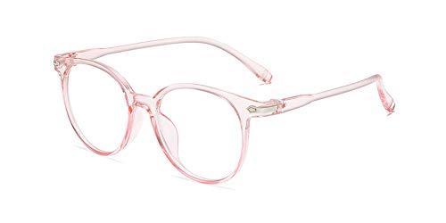 KINLOU Brillen - Neue Rund Brillengestelle Brille Anti Blaulicht Ohne Stärke Computer Gaming Brillen Leicht Brillenfassung Damen Herren, Transparentes Rosa
