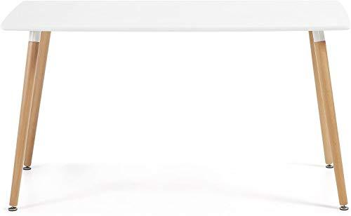 Venprodin Mesa de Comedor o Cocina Rectangular Estilo Nórdico con Patas de Madera de Haya 120x80x75 cm