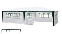 SORARA Pavillon Pliable 3 x 6 m Tente de Jardin Tente de fête | Blanc PE | Parois latérales/Panneaux latéraux | pour Jardin terrasse marché Camping Festival Hydrofuge Tonnelle