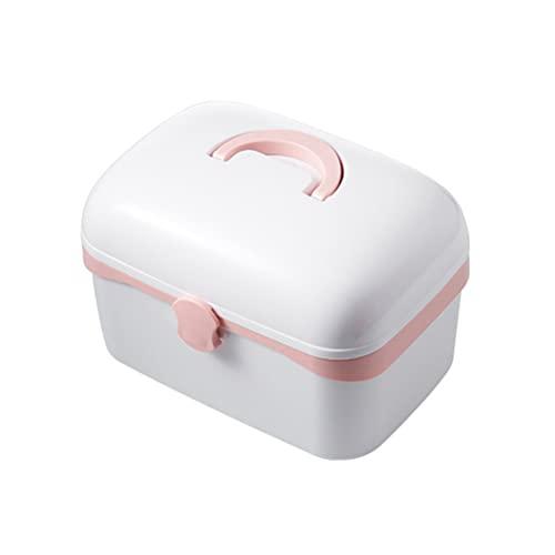 DOITOOL 1 estuche de medicina para el hogar, caja de medicina de plástico, caja de almacenamiento de píldoras de escritorio, gabinete de medicina con compartimentos separados