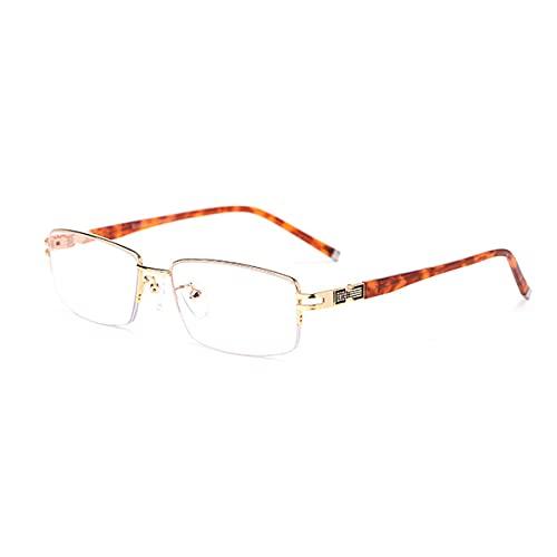 HAOXUAN Gafas de Lectura Medio Marco de Metal Super Light TR90 Progresivo Multifocal Bloqueo de luz Azul Lector de computadora Dioptría +1,00 a +3,00,Oro,+1.00
