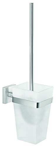 tesa EXXCLUSIV Toilettenbürstenhalter ohne Bohren, Edelstahloptik, Milchglas, Klebelösung, rostfrei, 445mm x 98mm x 138mm