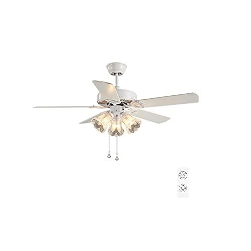 Ventilador de techo con luz 36/42/52 pulgadas Luz de ventilador de techo, control remoto Araña de luz de ventilador ajustable para dormitorio, sala de estar, comedor, E27 * 5 Ventilador De Techo Con L