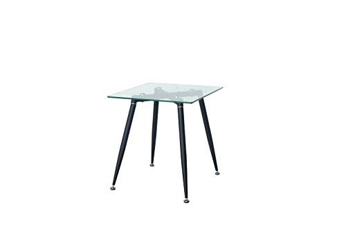 Premier DT5055 - Mesa de comedor cuadrada de cristal transparente y mesa de cafe con patas de acero con recubrimiento de polvo antracita