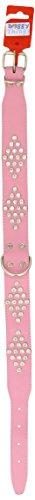 Doggy Things Fantasia - Collar de Piel con Diamantes de imitación, 70 cm, Color Rosa Claro
