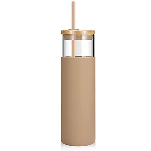 tronco Vaso de cristal de 28 onzas con pajita de silicona, tapa protectora de bambú, sin BPA