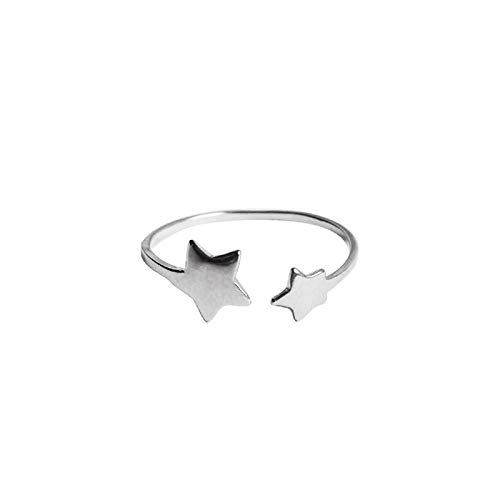 Rings Women Real 925 Sterling Silver Star Adjustable Ring for Fashion Party Minimalist Fine Cute Accessories Gift Bride