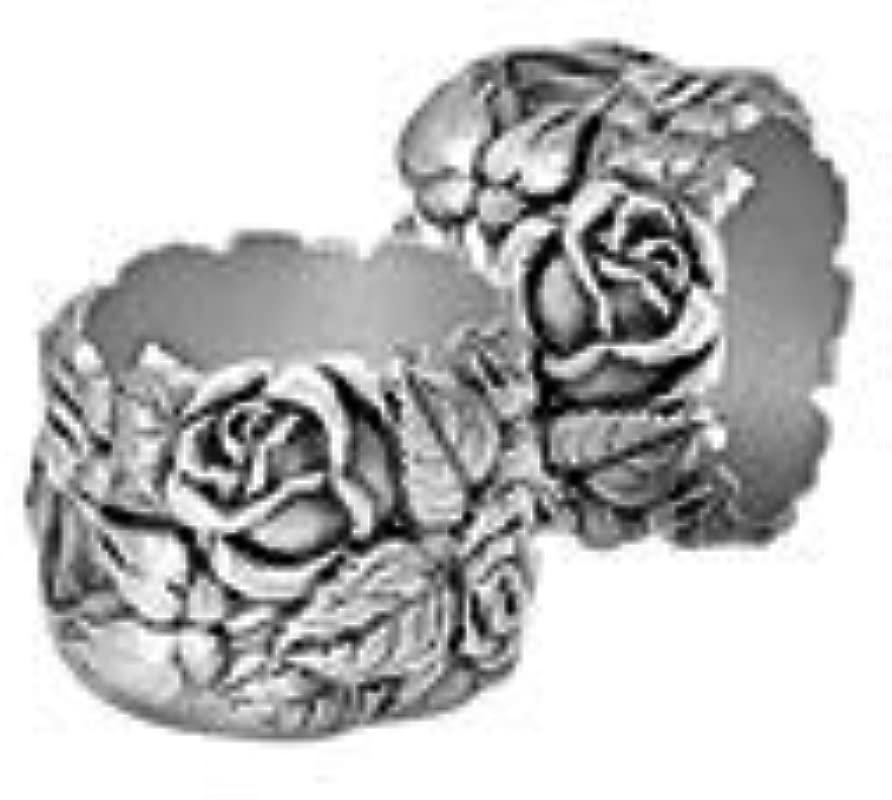 Pewter Napkin Rings In Rose Pattern 2 Per Box