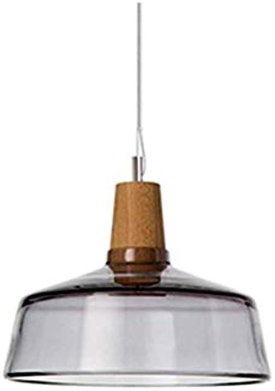 Lüster Led Deckenlampe Transparenter Kronleuchter, E27 1 Lampe, Nordischer Kronleuchter Mit Dekorativem Kronleuchter Aus Holz Restaurant Küche-Rauchgrau