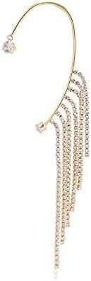 Guerast Multiple Row Ear Wrap Crawler Hook Earrings Fashion Cuff Earring Set Unique Rhinestone Ear Jewelry For Women Girls