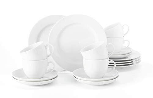 Seltmann Weiden 001.741310 Liane Kaffeeservice 18-teilig weiß | Set für bis zu 6 Personen |Serie Rondo |beinhaltet je 6 Frühstücksteller, Kaffeeober-und Untertassen, Hartporzellan
