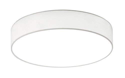 Trio Leuchten 621911201 Lugano A+, LED Deckenleuchte, nickel, 11 watts, Integriert, Stoffschirm Weiß, 30 x 30 x 9 cm