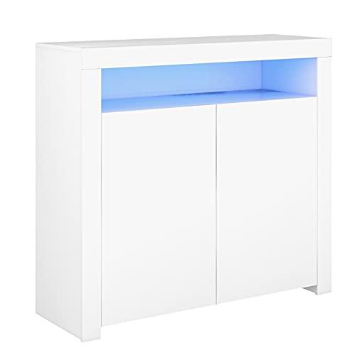 Lazyspace Aparador blanco para salón, armario de almacenamiento blanco brillante con luz LED, moderno armario de cocina, armario de madera vitrina de almacenamiento con 2 puertas