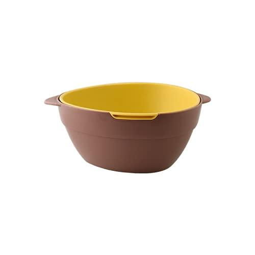YIXINYOUPIN Filtro multifuncional de alimentos de cocina de dos colores con mango fuerte y duradero cesta de fruta rojo+amarillo