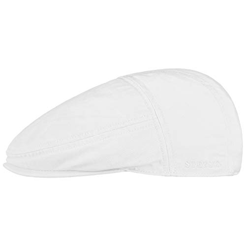 Stetson Paradise Cotton Schirmmütze weiß Herren - Flatcap mit UV-Schutz 40+ - Herrenmütze aus Baumwolle - Flat Cap Größen L 58-59 cm - Schiebermütze Sommer/Winter
