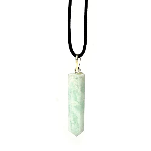 Raw Amazonite Crystal Pendant Necklace – For Empowerment Courage Harmony Happiness Balance Prosperity Amazons - Authentic Stone On Adjustable Length Cord - Real Gemstone Chakra Healing Charm
