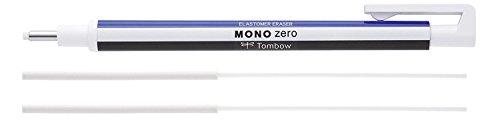 Tombow Präzisionsradierer MONO zero nachfüllbar runde Spitze, Durchmesser 2.3 mm (Weiß+ 2 Refill Radiergummis)