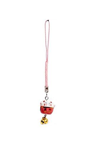 Pamai Pai® Keramik Anhänger Rosa Glückskatze Maneki Neko Winkekatze Katze Handyanhänger