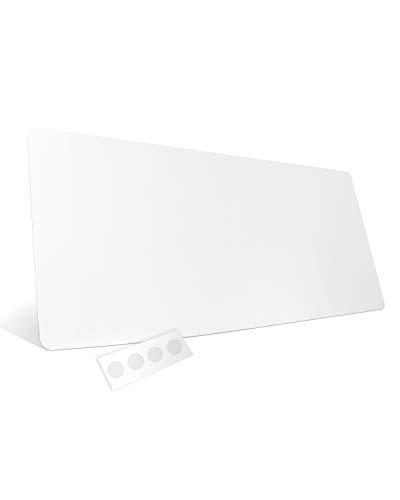 HAMZAM® Schreibtischunterlage transparent, inkl. Klebepunkte, rutschfeste Schreibunterlage,90x40cm, runde Kanten,abwischbar, für Home&Office