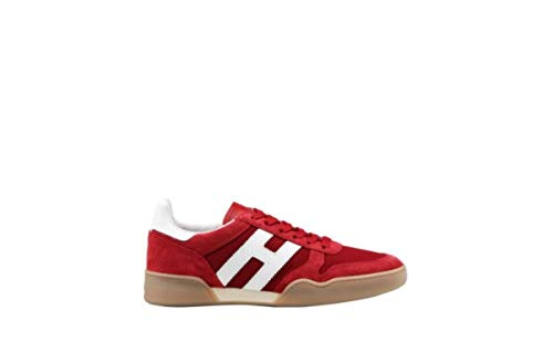 Hogan H357 Scarpe da Uomo HXM3570AC40KFE3260 Sneakers Running Sportive Ginnastica in Pelle Rosse Rosso Calzature Passeggio Casual Shoes Comode Nuove Rosso, 8