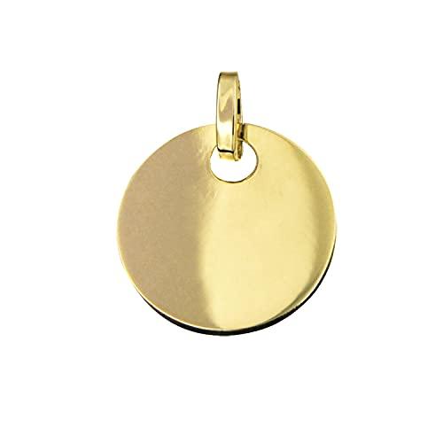 Lucchetta Joyas - Medalla Colgante en Oro Amarillo, Colgante medalla redonda de Oro 14 quilates sin cadena (se puede comprar por separado)