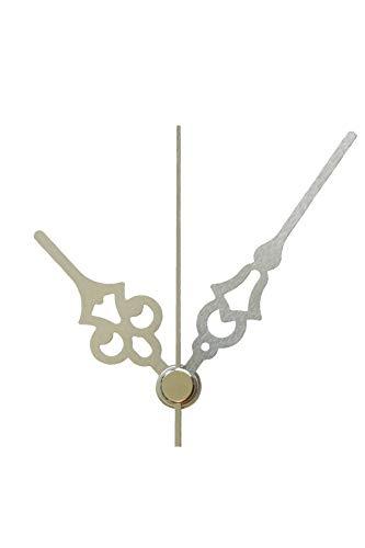 JH1668 Quarz-Uhrwerk nach Wahl mit Zeiger Metall kurz oder lang Lautlos geräuschlos 61 mm Silber #151 (Silber, C: Ziffernblattdicke 10-19 mm ohne Aufhänger)