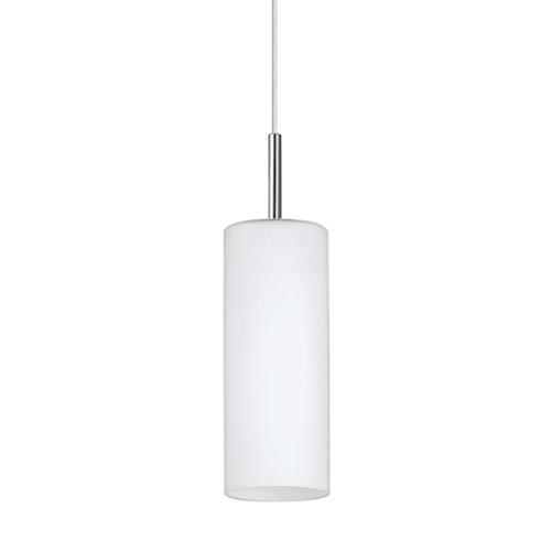 EGLO Lámpara de techo Troy 3, lámpara colgante de 1 bombilla, material Acero, color Níquel mate, cristal Blanco satinado, Zócalo E27, 10.5 cm