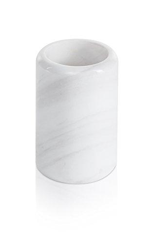 Möve 44059-001 Porte-Brosse à Dents, Marbre, Snow, Ø 7 x 10, 5 cm