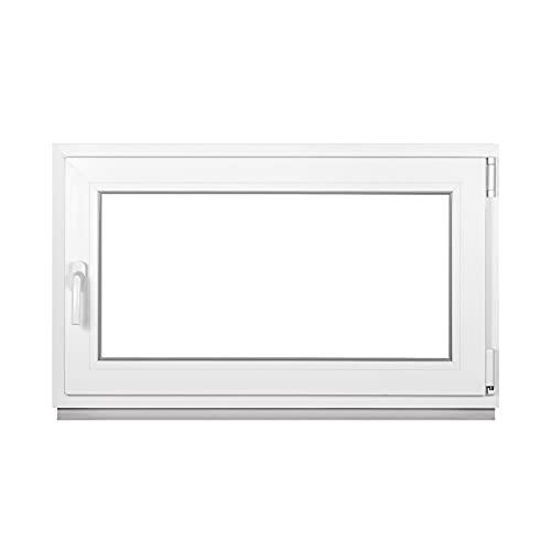 Premium Kellerfenster Von Fenstiger - Kunststofffenster Weiß BxH 800 x 400 mm - Garagenfenster/Gartenhaus Fenster BxH 80 x 40 cm 2-fach Verglast - Din Rechts-Funktion Dreh Kipp Fenster-Alle Größen