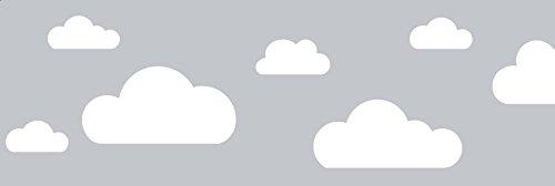 lovely label Bordüre selbstklebend Wolken GRAU - Wandbordüre Kinderzimmer/Babyzimmer mit Wolken - Wandtattoo Schlafzimmer Mädchen & Junge –...