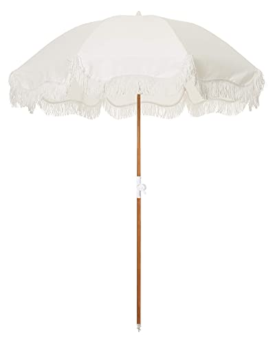Business & Pleasure Co. Holiday Umbrella - Bring Vacation Feeling to any Beach - Chic Prints & Cute Fringe - Sturdy, Premium Wood Pole - Easy to Use & Carry, UPF 50+, Antique White