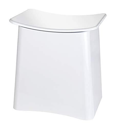WENKO Wing Badhocker und Wäschekorb Weiß mit herausnehmbarem Wäschesack, 33 L